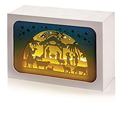 Premier Decorations LIGHT UP 16cm x 11cm PAPER DIORAMA Christmas NATIVITY SCENE with 4 LED Lights : everything 5 pounds (or less!)