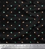 Soimoi Schwarz japanischer Kreppsatin Stoff Punkt, Blätter