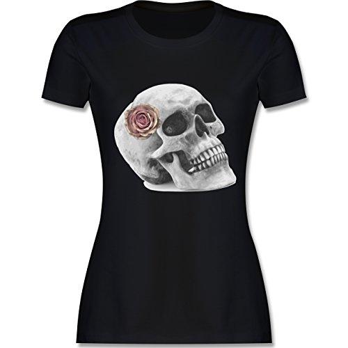 Böse Vampire Skull T-shirt (Rockabilly - Totenkopf Rose Vintage Skull - M - Schwarz - L191 - Damen Tshirt und Frauen T-Shirt)