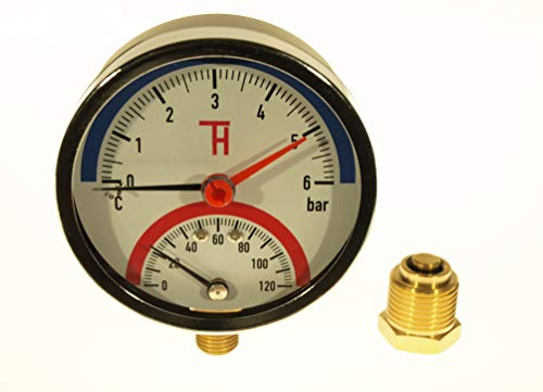 THERMIS Thermomanometer Anschluss von unten G1/2 (80 mm) 0-120°C (0-6 bar) Temperatur Manometer 3081 -