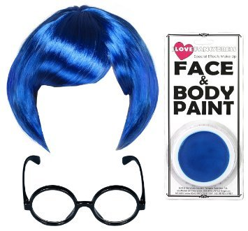 SADNESS EMOTION CHARACTER KOSTÜM - SET BLAUE BOB PERÜCKE + BLAUES MAKE UP + SCHWARZES BRILLENGESTELL MIT PLASTIK LINSEN ANIMATED MOVIE CHARACTER ACCESSORY - SAD EMOTION (Out Halloween Kostüme Inside)