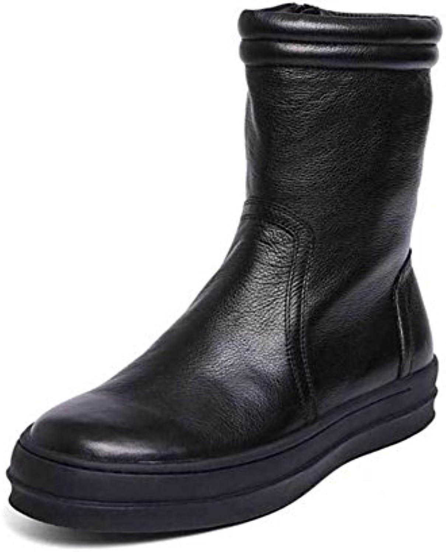 Hombres Otoño Invierno Alto Martín Vaquero Botas británico Tendencia Casual Cuero Zapatos Plano Cremallera Negro...