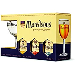 Cerveza Maredsous Pack Promocional De 3 Botellas De 33Cl (2 Blond+1Bruin). + Copa