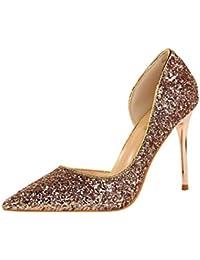 4d3539022bf03 HANMAX Escarpin de Mariage Femme à Talons Haut Pailleté Chaussures de Soirée  Cocktail ...