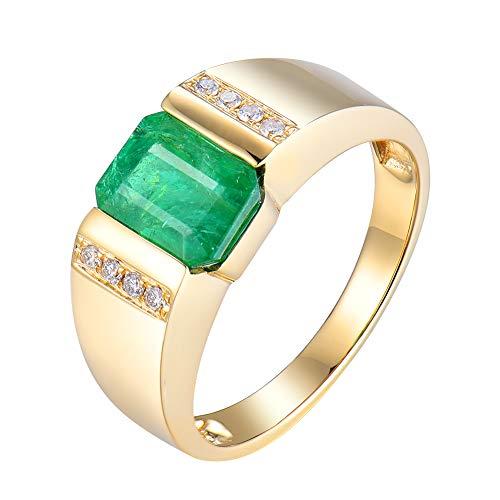 Solide 14K Herren Ring Gelbgold Natürlichen Diamanten Smaragd Hochzeitstag Edlen Schmuck