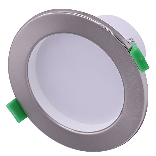6x 12W SMD LED Downlights Glanz Satin Chrome dimmbar/Strahler Spots Deckenleuchte Warm/Kalt Weiß 900-1000LM Ausschnitt 90mm 5000 K Kaltweiß (Satin White-spray-farbe)