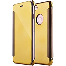 iPhone 6SPlus Mirror Clamshell funda para Teléfono Móvil, iPhone 6Plus Clear View Mirror Case, Diseño Creativo YFZYT Intelligent Bookstyle Funda de piel Transparente con Hermoso Chrome Funda Rgida para Espalda, Smooth Grip Protección Duradera para Apple iPhone 6 Plus/6S Plus - #Oro