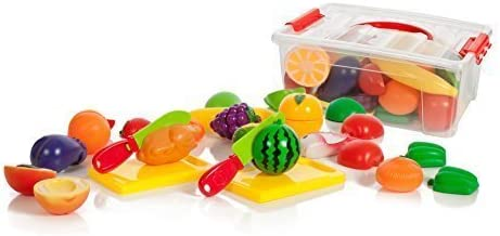 Zaid Collections 13 Piece Cutting Fruits & Vegetables Play Set, 1 Boards in Storage Container