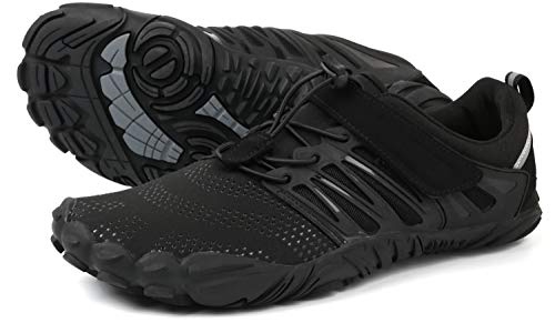 WHITIN Herren Traillaufschuhe Minimalistische Barfußschuhe 5 Five Finger Zehenschuhe Fivefinger Trail Laufschuhe Fitnessschuhe Barfussschuhe für Männer Leichtgewicht Tennis Schwarz 42 EU