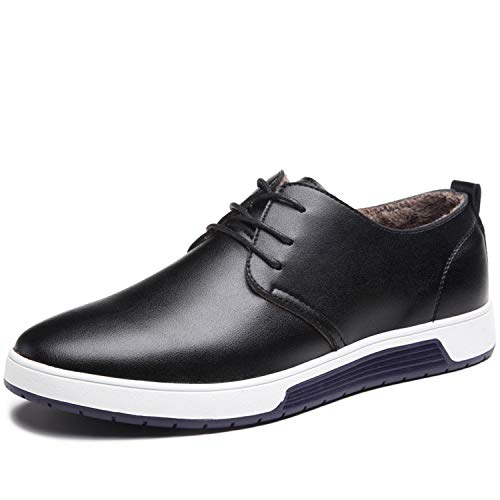 Herren Leder Schuhe mit Warm Gefüttert Business Halbschuhe zum Schnürer Winter Anzugschuhe Oxford Derbys Lederschuhe Wasserdicht Flache Schnürhalbschuhe Männer,Schwarz-40 EU