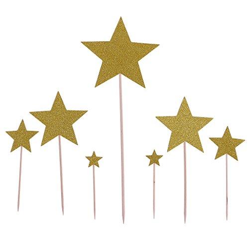 Sharplace Stern Kuchenaufsatz Cupcake Topper Kuchen Picks Baby Taufe Kindergeburtstag Party Tischdeko, 7er / Set - Gold -