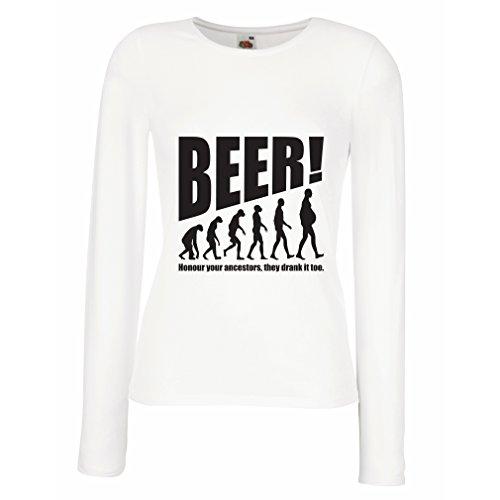 lepni.me Weibliche langen Ärmeln T-Shirt The Beervolution (Large Weiß Schwarz) (Werbe-logo-shirt)