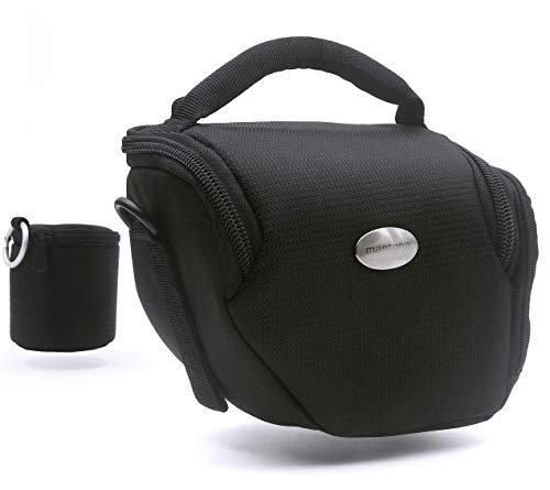 MANTONA Vario Duo - kompakte System Kameratasche Größe M - schwarz | Schultergurt | OBJEKTIVKÖCHER | zu Lumix DC GX9 DMC GX8 - Fuj. X-E3 X-ES2 usw