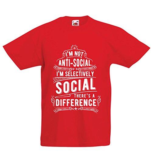 Camiseta Niños/Niñas No Soy Antisocial Solo selectivamente Social, Gracioso Diciendo, Citas de Humor sarcástico (14-15 Years Rojo