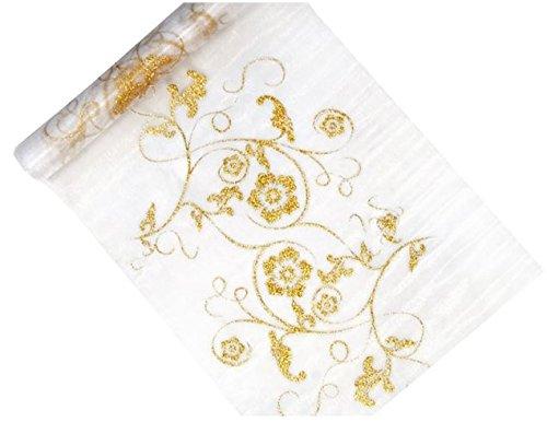 Organzarolle weiß mit Golddruck, 36 cm , 9 m