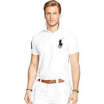 Ralph Lauren Polo pour Homme Big Pony Slim Fit (L, Blanc)