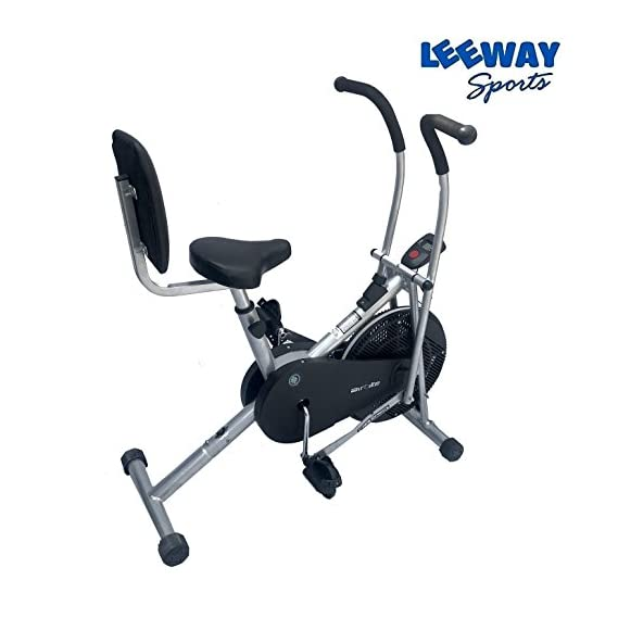 Leeway Stamina Air Bike With Back Support LS-909| Exercise Cycle| Air Bike| Moving Handle Gym bike For Home Use| Deluxe Design of Fitness Lifeline for Cardio Work Out| Weight Loss Cross fit Equipment| Exercise Bike Dual Action with Back Support