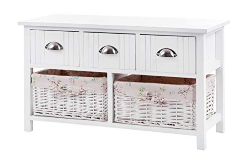 ts-ideen Landhaus Kommode Schrank Sideboard Weiß 3 Schubladen Körbe Bezug Natur 46 x 79 cm -