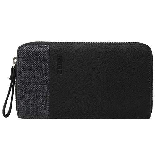 Zwei Eva EV2 Reißverschluss Geldbörse Portemonnaie Geldbeutel Brieftasche, Farbe:Nubuk Black