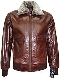 Chaqueta cazadora de piel para hombre .AIR FORCE. , color marron, piel de oveja, estilo fuerzas especiales aereas, moda casual. (L)