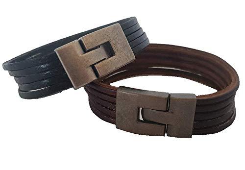 Unbekannt Armband 2xLederarmband ECHT Leder Surferarmband Herren Männer Flechtarmband LA1701 (Black)