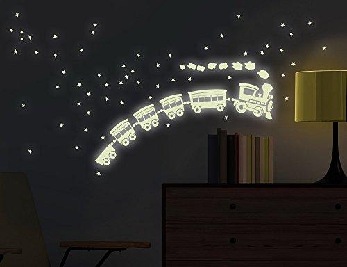 Wandtattoo Leuchtaufkleber Nachtzug bsm065 Nachtleuchtend Fluoreszierend Wandaufkleber Wandsticker Kinderzimmer Leucht Sterne Sternenhimmel Leuchtsterne 18 x 28