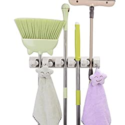 Mop & Broom Holder, Broom Holder Wall Mounted Holds Up To 11 Tools & Mop Broom Organizer For Garage, Kitchen, Laundry, Garden, & Offices By Lifex