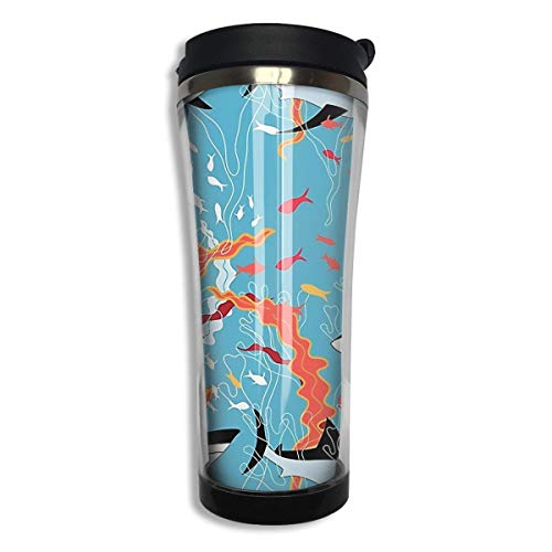 Stainless Steel Coffee Mugs Shark Travel Coffee Thermal Mug 14.8 Oz (420ml) Insulated Cup Perfect for Travel, Camping, Hiking, The Beach and Sports -