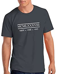 "Mens 1988 ""Veni Vidi Vici"" 30th Birthday T Shirt Gift with Year Printed in Roman Numerals"