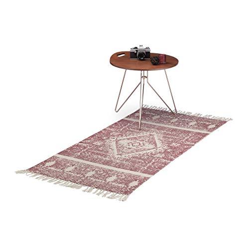 Relaxdays Teppichläufer Ethno gemustert für Flur, Diele, Wohnzimmer, Kurzflor Teppich flach in 70 x140 cm, weinrot-beige