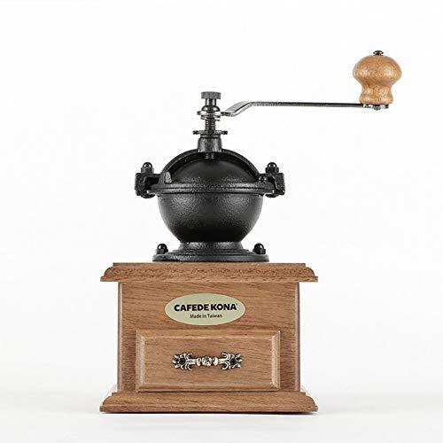 YJF Vintage Holz Manuelle Kaffeemühle Classic Style Manuelle Handschleifer Kaffeemühle mit Catch Schublade und Mahlen Einstellungen