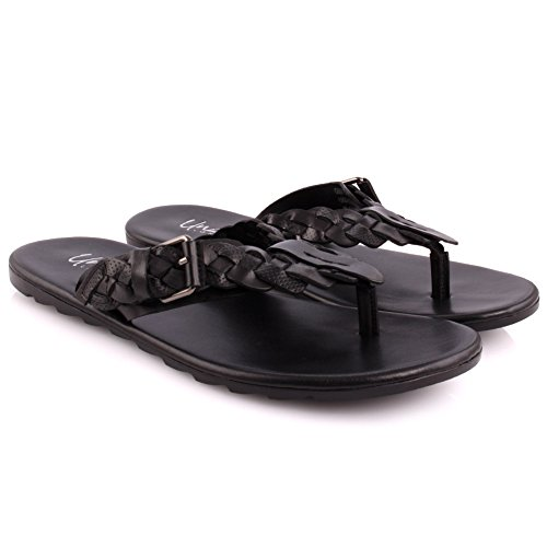 Unze Herren Leder 'Sankt' Geflochtener Slip On Open Toe Thong Beach Festival Sommer Hausschuhe UK Größe 7-11 - YL8823 Schwarz