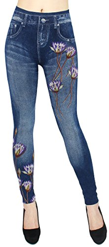 dy_mode Leggings Damen High Waist Hose Jeans Optik Jeggings ideal zu jeder Jahreszeit - OneSize Gr.36-42 - JL089 (JL235-Soul)