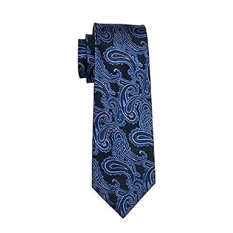 CAOFENVOO Mens Blue Black Silk Formal Paisley Necktie