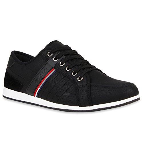 Herren Sneakers Gesteppt | Denim Sportschuhe | Sneaker Low | Turnschuhe Schnürer |Freizeit Schuhe Leder-Optik Schwarz Nero