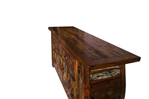 (K15)Vintage Teak gebogene Kommode, Kabinett, Sideboard, Schrank, Shabby, Antik Retro, Chic - 4