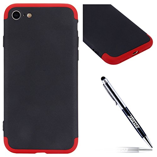 iPhone 7 Custodia, iPhone 8 Cover, JAWSEU Ultra Sottile [360 gradi] 3 in 1 Protezione Completa liscio Macchia Duro PC Custodia per iPhone 7 / 8 Cover Case Caso Gomma Custodia Anti Graffio Anti Scossa Nero
