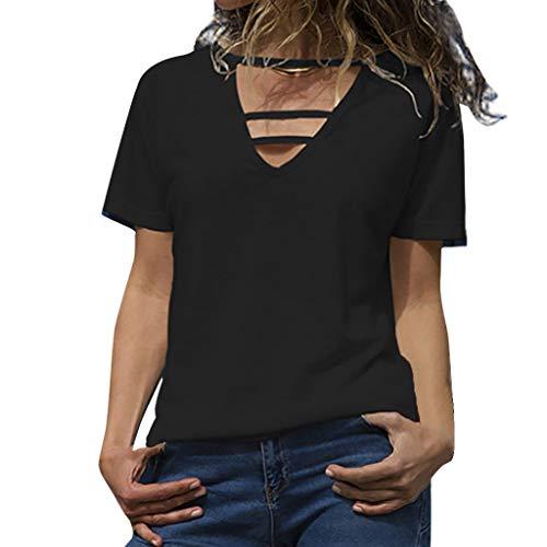 POPLY Frauen Grund Tops 2019 Neu Damen Lässige T-Shirts Kurzarm Solide V-Ausschnitt Hohlhemd Pullover Einfarbig Tunika Oberteile(Schwarz,L)
