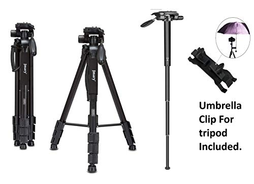 Jmary Techlife 2264 Upto 6ft Height Professional Aluminium Tripod, Monopod for All DSLR Cameras (Black)