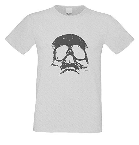 Grusel T-Shirt Herren Fun-Motiv Skull Geschenkidee Geburtstagsgeschenk Hexen Gespenster Geister Farbe: grau Grau
