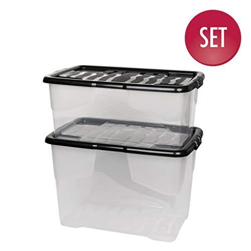 """2 Stück Aufbewahrungsbox""""Curve"""" mit Deckel aus transparentem Kunststoff. Nutzvolumen 65 und 42 Liter. Stapelbar, nestbar, einsehbar. Mit Deckel."""