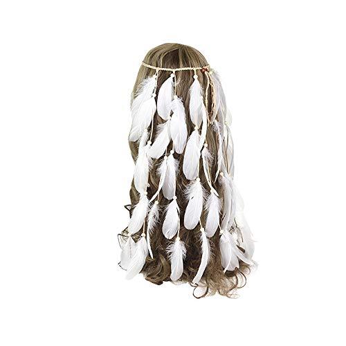 MELLRO Cocktail Haarband Frauen Haarschmuck Feder Stirnband Hippie Kopfschmuck Boho Nette Perlen Native Indian Kopfschmuck Für Maskerade