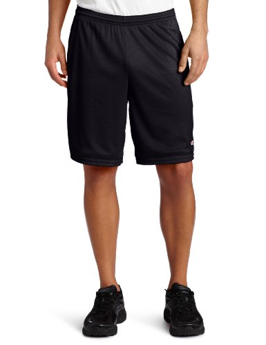 Champion Men's Long Mesh Short With Pockets,Black,Medium