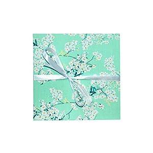 Leporello Fotoalbum mit Stoff 17×17 weiße Seiten Mint floral