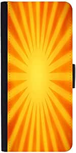 Snoogg Orange Rays Background Graphic Snap On Hard Back Leather + Pc Flip Cov...