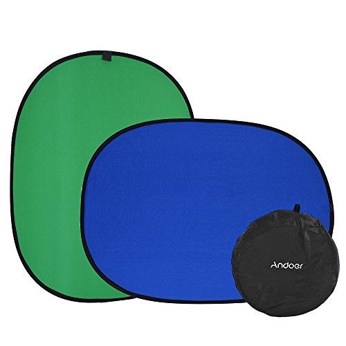 Andoer Collapsible Muslin Cotton 1.5 * 2.0m Blue & Green (2in1) Hintergrund-Hintergrund-Panel für Photo & Video Studio Fotografie Collapsible Muslin Hintergrund