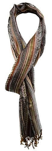 TigerTie Designer Schal in braun beige grau rot rosa gelb gemustert - Gr. 200 x 30 cm Designer-schal