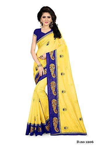 Febo Fashion Women's Chanderi Cotton Yellow Colour Embroidered Sari