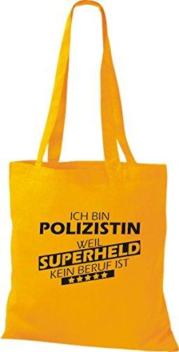 Shirtstown Stoffbeutel Ich bin Polizistin, weil Superheld kein Beruf ist goldgelb