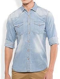 Lafantar Men's Denim Shirt (Blue)